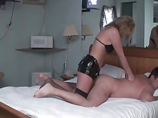 wife dominatrix pounds husbands gazoo with dong