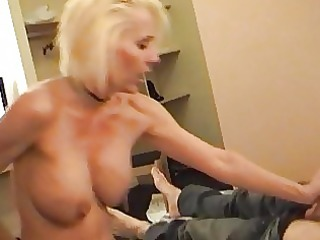 naughty blond momma in belt and nylons rides hard