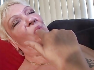 tattoo granny in nylons fingers and sucks