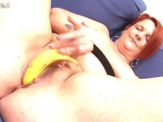 anal play with banana with bulky older mommy