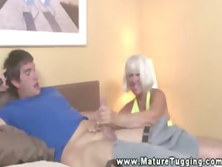 aged granny tugging pounder for lucky boy