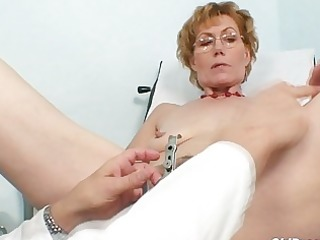 short haired golden-haired granny acquires her