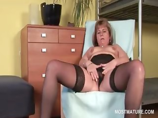 hawt golden-haired mature wide widening her pink