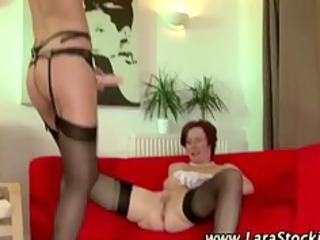 Mature lesbian euro babe in stockings gets fucked