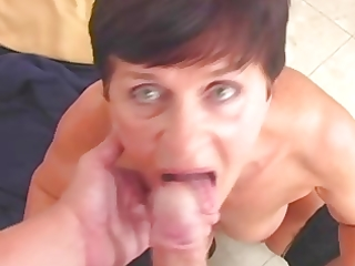 granny in nylons wears out the boy