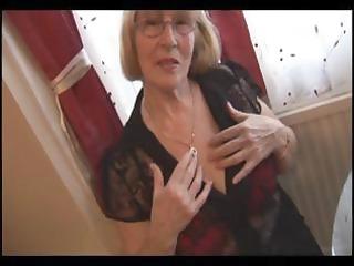 shaggy granny in hose striptease