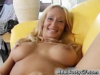 breasty concupiscent mamma plays with her