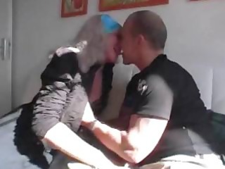 german granny receives threesome love from a