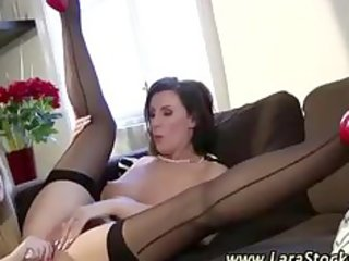 older classy stocking finger and oral-sex