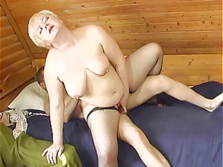 Russian boy fucking a plumper mature