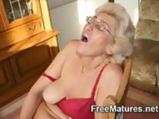grandmom in hose masturbating with sex toy