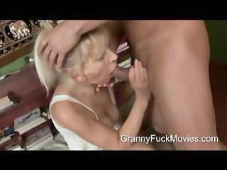 youthful guy pounding a skinny granny