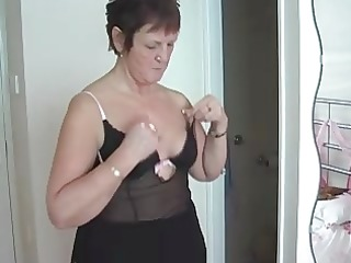 granny in fishnets undresses and fingers