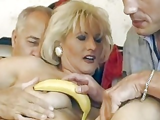 aged german blond receives double screwed