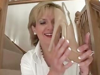mature femdom brit shoe posing undressed