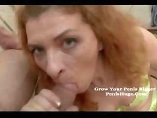 non-professional redhead grandma eats his dick