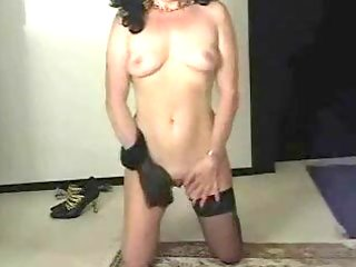nylon mama undresses for old guy then jerks him